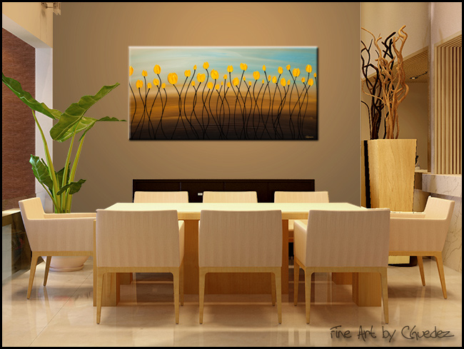 Yellow Tulips-Modern Contemporary Abstract Art Painting Image