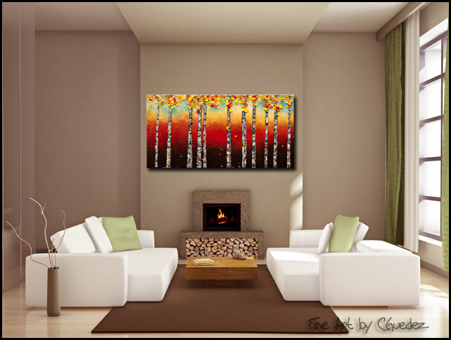 Autumn Birch trees-Modern Contemporary Abstract Art Painting Image