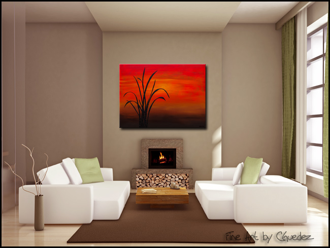 Coastal Sunset-Modern Contemporary Abstract Art Painting Image