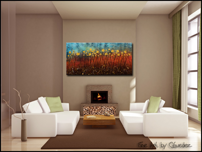 Golden Flowers-Modern Contemporary Abstract Art Painting Image