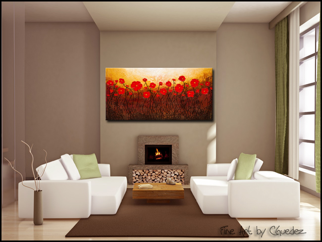 Poppy Meadow-Modern Contemporary Abstract Art Painting Image