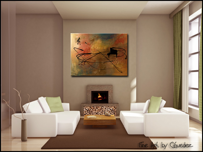 Solo Piano-Modern Contemporary Abstract Art Painting Image