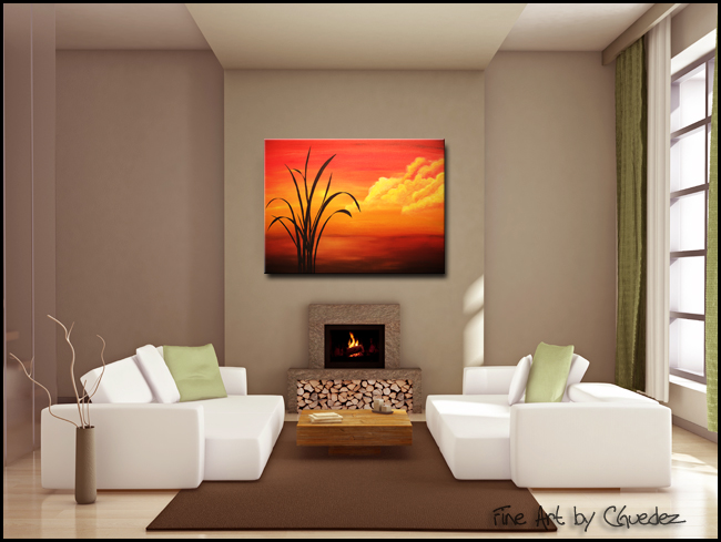 Sunset Palm-Modern Contemporary Abstract Art Painting Image