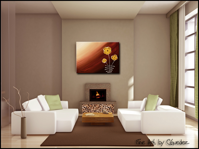 Tre Fiori-Modern Contemporary Abstract Art Painting Image