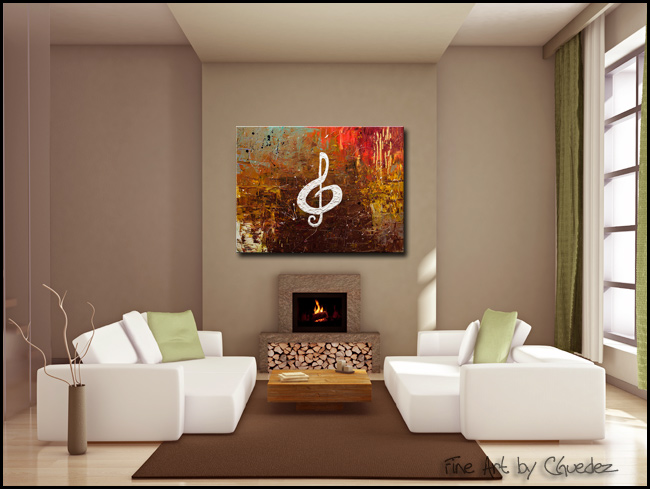 White Clef-Modern Contemporary Abstract Art Painting Image