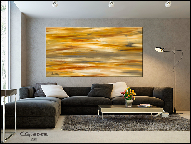 Gray and Sienna-Modern Contemporary Abstract Art Painting Image