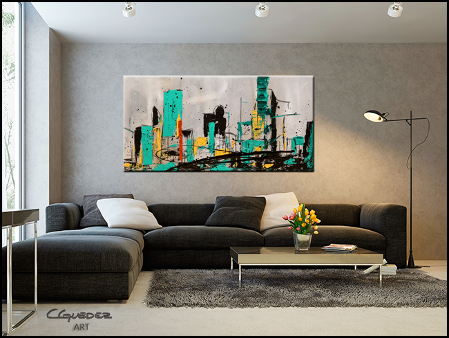 Hashtag City-Modern Contemporary Abstract Art Painting Image