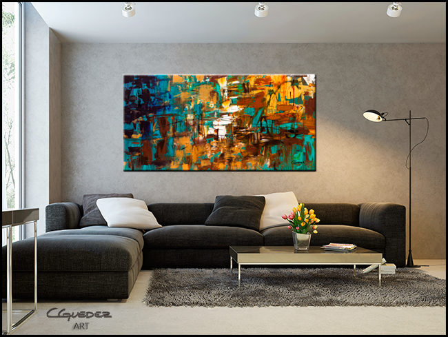 Turquoise Scent-Modern Contemporary Abstract Art Painting Image
