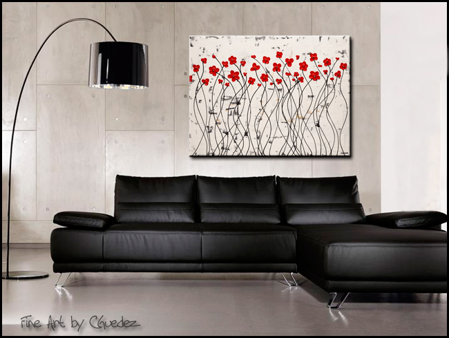 Dancing Poppies-Modern Contemporary Abstract Art Painting Image