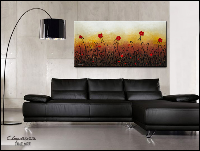 Red Flower Garden-Modern Contemporary Abstract Art Painting Image