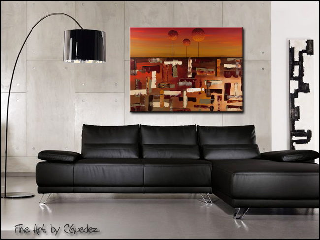 Sunset Trees-Modern Contemporary Abstract Art Painting Image