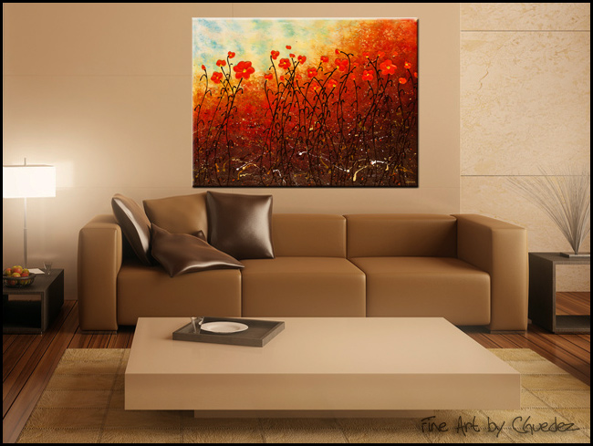 Blooming Flowers-Modern Contemporary Abstract Art Painting Image