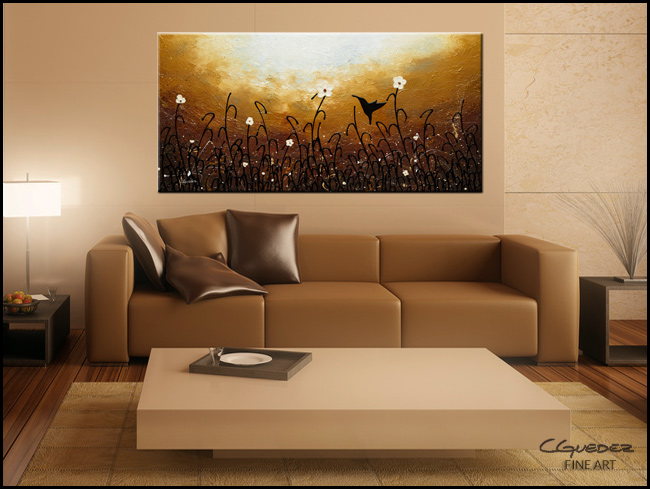 Blossom and Bird-Modern Contemporary Abstract Art Painting Image