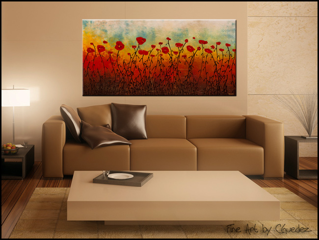 Red Flower Field-Modern Contemporary Abstract Art Painting Image