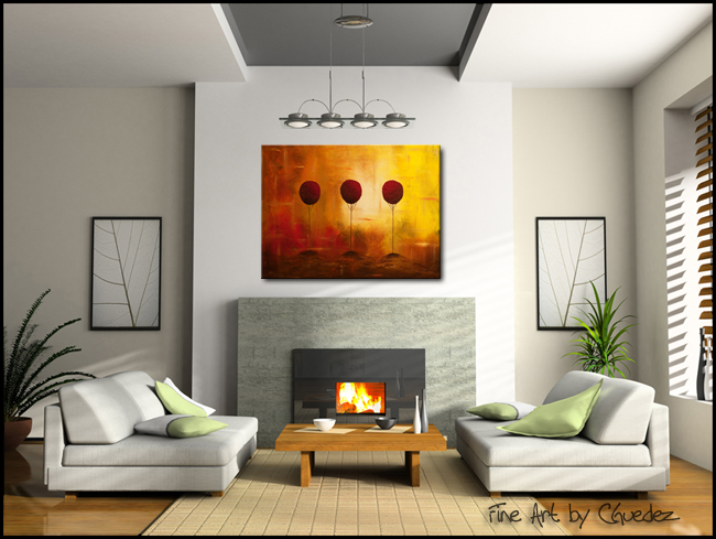 Three Alone but Together-Modern Contemporary Abstract Art Painting Image