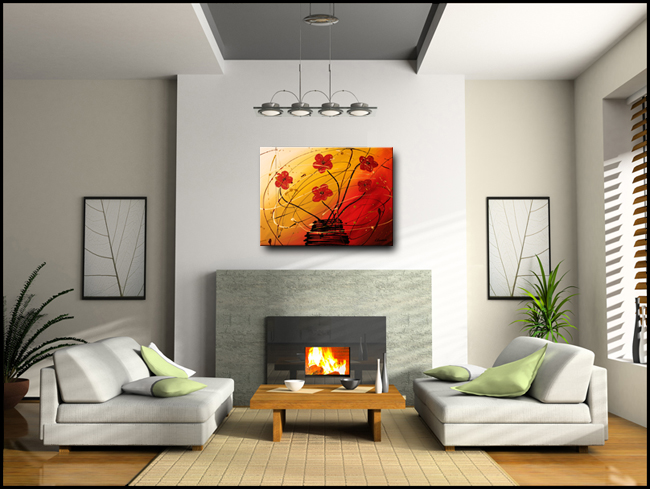 Dripping Flowers-Modern Contemporary Abstract Art Painting Image