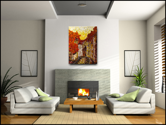 Old Country-Modern Contemporary Abstract Art Painting Image